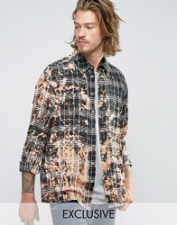 Reclaimed Vintage Bleached Check Shirt In Reg Fit Black