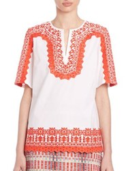 Tory Burch Isla Embroidered Tunic White Orange