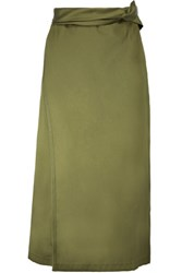 3.1 Phillip Lim Wrap Effect Satin Twill Midi Skirt Army Green
