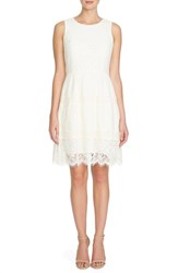 Women's Cece By Cynthia Steffe 'Olivia' Lace Fit And Flare Dress Antique White