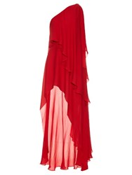 Elie Saab Asymmetric Silk Georgette Gown Red