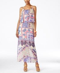 Ny Collection Petite Printed Popover Maxi Dress Lilac Hoopla