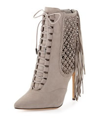 Alexandre Birman Suede Fringe Lace Up Point Toe Ankle Bootie Gray