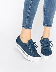 Fred Perry Phoenix Flatform Mesh Plimsoll Trainers Navy