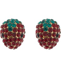Marc Jacobs Coin Strawberry Stud Earrings Red Gold