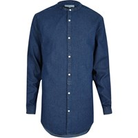 River Island Mens Blue Longline Grandad Denim Shirt