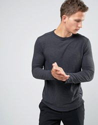 Selected Homme Raw Edge Long Sleeve T Shirt In Tall Fit Caviar Black