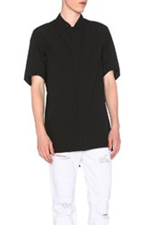 11 By Boris Bidjan Saberi Short Sleeve Button Down Shirt In Black