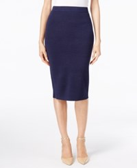 Alfani Sweater Knit Pull On Midi Skirt Only At Macy's Navy Nautical