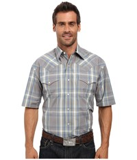 Stetson Mineral Plaid Short Sleeve Woven Snap Shirt Grey Men's Clothing Gray