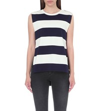 Izzue Striped Cotton Jersey Top White Blue