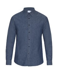 Sunspel Washed Cotton Shirt Light Blue