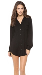 Bop Basics Pajama Top Chemise Black