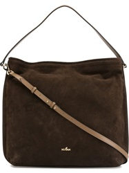 Hogan Suede Hobo Tote Brown