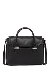 Mackage Large Leather Flap Satchel Black