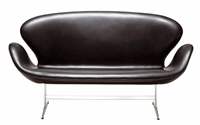 Swan Sofa Classic Leather Black Design Within Reach