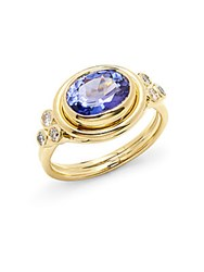 Temple St. Clair Diamond Tanzanite And 18K Yellow Gold Ring