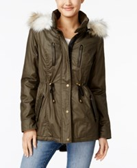 American Rag Coated Parka Coat Olive