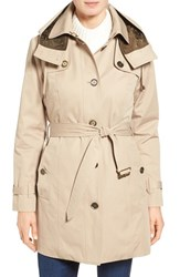 London Fog Petite Women's Single Breasted Trench Coat Khaki