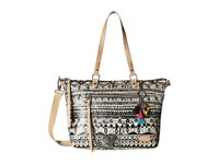Sakroots Artist Circle City Satchel Black White One World Satchel Handbags Beige