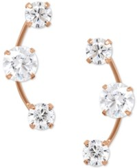 Macy's Cubic Zirconia 3 Stone Ear Climber Earrings In 14K Yellow White Or Rose Gold