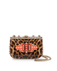 Christian Louboutin Sweet Charity Patent Leather Shoulder Bag Brown Gold Women's