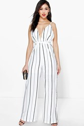 Boohoo Deep Plunge Strappy Wide Leg Jumpsuit White