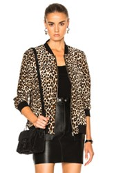 Equipment Abbot Bomber In Brown Animal Print Brown Animal Print