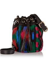 M Missoni Macrame Trimmed Crochet Knit Bucket Bag Black