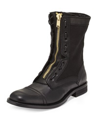 Kenneth Cole Do U Mind Leather Canvas Boot Black