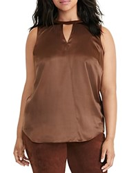 Ralph Lauren Plus Silk And Suede Sleeveless Top Chocolate Mousse