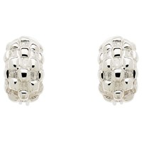 Monet Chequer Half Moon Clip On Earrings Silver