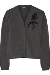 Rochas Sequined Wool Blend Cardigan Gray