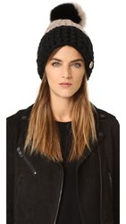 Mischa Lampert Deep Two Tone Beanie Hat Taupe Black Taupe And Black