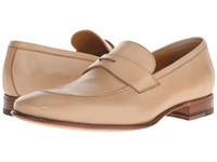 A. Testoni Delave Calf Clean Penny Loafer Nude Men's Slip On Shoes Beige