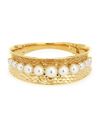 Majorica White Round Pearl Gold Hammered Bangle