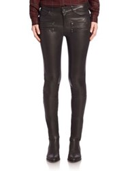 Paige Egdemont Zipper Ultra Skinny Leather Pants Black