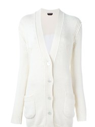 Rochas Long Button Up Pocket Detail Knitted Cardigan White