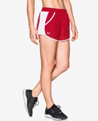 Under Armour Fly By Colorblocked Shorts Red White