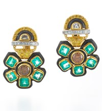 David Webb Couture Vine Earrings Green