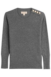 Burberry London Cashmere Pullover With Gilded Buttons Grey