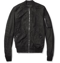 Rick Owens Long Length Burnished Suede Bomber Jacket Black