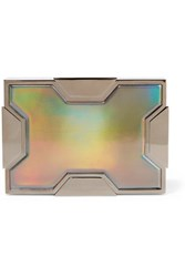 Lee Savage Space Holographic Leather And Gunmetal Tone Clutch Silver