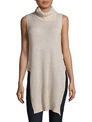 Saks Fifth Avenue Solid Sleeveless Pullover Almond Heather