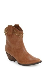 Very Volatile Women's 'Lunet' Studded Western Bootie Tan Leather