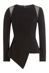 Roland Mouret Asymmetric Top With Lace Black
