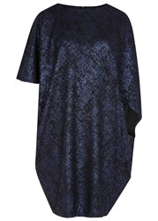 Talbot Runhof Midnight Blue Foiled Jersey Dress Navy