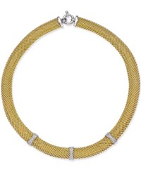 Macy's Diamond Mesh Necklace 3 8 Ct. T.W. In 14K Gold Plated Sterling Silver Gold Over Sterling Silver