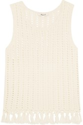 Madewell Fringed Open Knit Cotton Blend Top Cream