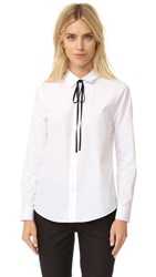 Theory Anesha Shirt With Black Tie White